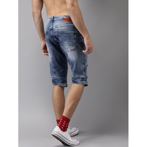 HERE&NOW Men Blue Washed Distressed Denim Shorts