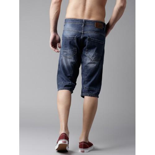Moda Rapido Men Blue Washed Regular Fit 3/4th Denim Shorts