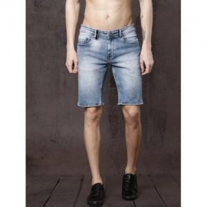 Roadster Men Blue Solid Regular Fit Denim Shorts