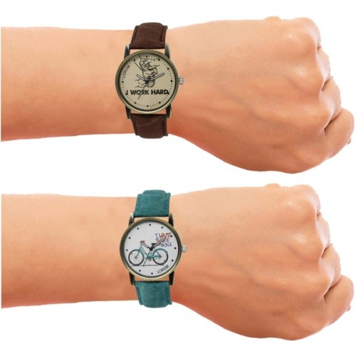 LOREM LR29-229 Green and Brown Stylish Jeans Watches