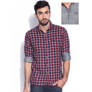 Wrangler Maroon & Grey Reversible Cotton Checked Shirt