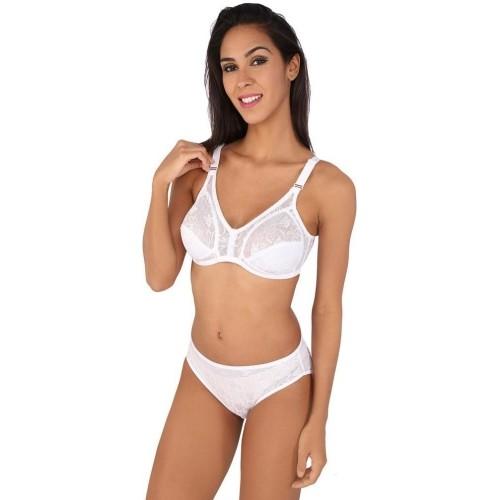 e44c1e25855 Buy Bralux White Cotton Full Lace Lingerie Sets online