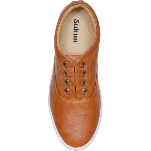 Sukun Brown Canvas Lace Up Shoes
