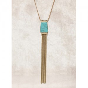 Anouk Gold-Toned & Teal Sea Green Fringed Necklace