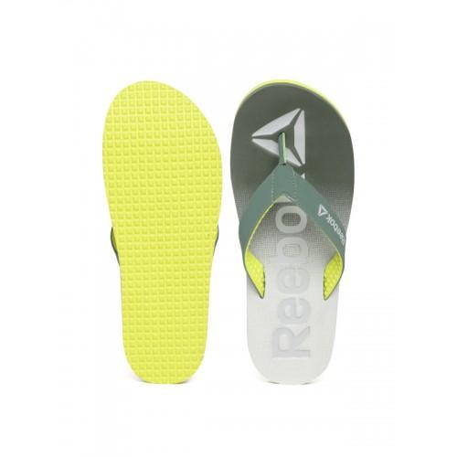 Reebok Men Green & Grey Embossed Thong Flip-Flops