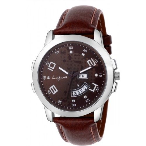Lugano LG 1107 Ch Exquisite & Royal Brown Dial Day & Date Watch