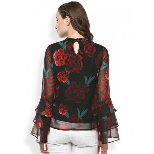 RARE Women Black & Red Printed Semi-Sheer Top