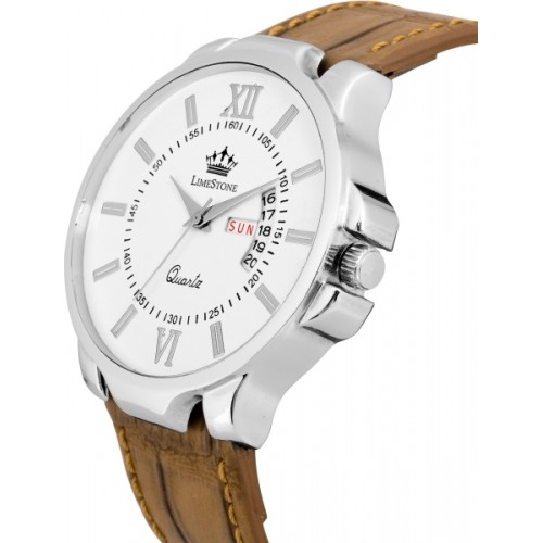 LimeStone LS2727 Avtar Day and Date Functioning Crocodile Strap Analog Watch