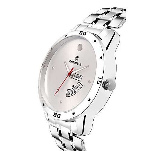 TIMEWEAR Day Date Functioning Silver Dial Chain Watch for Men