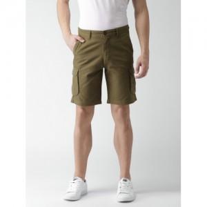 Mast & Harbour Men Olive Green Solid Regular Fit Cargo Shorts