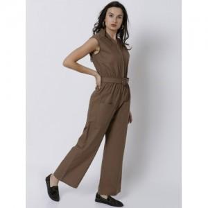 Tokyo Talkies Brown Solid Basic Jumpsuit