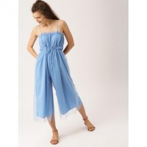 DressBerry Blue Cotton Solid Basic Jumpsuit