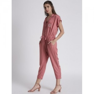 Chemistry Pink Rayon Solid Basic Jumpsuit