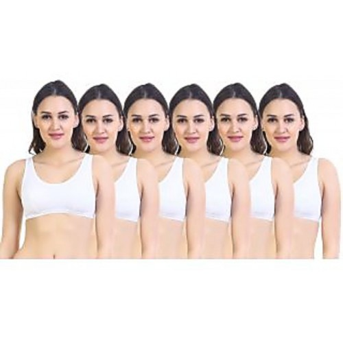 ddce6f7adf1 Buy SK Dreams White Cotton Set Of 6 Women S Bra Combo online ...
