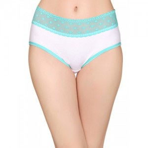 Clovia Turqoise Blue & White Self Designed Hipster Brief With Lace At Waist PN2472P03XL