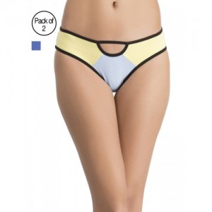 Clovia Pack of 2 Cotton Mid Waist Hipster Panty with Lace Sides