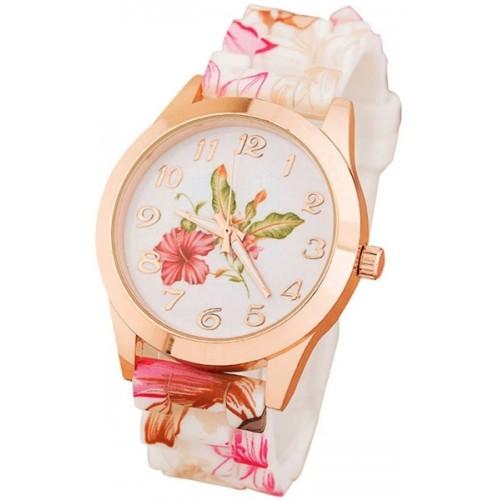 Cosmic New Geneva Sl-244 Multicolor Platinum Silicone Strap Watch