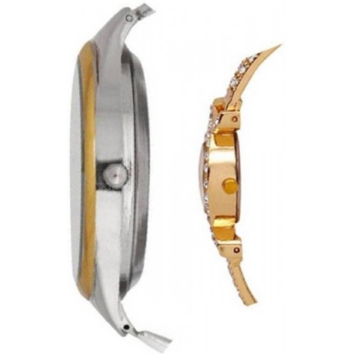 Varni Retail AKS Golden Diamond Women And Rosara Gold Silver Black Dial Men Couple Combo Watch For Couple Watch  - For Couple