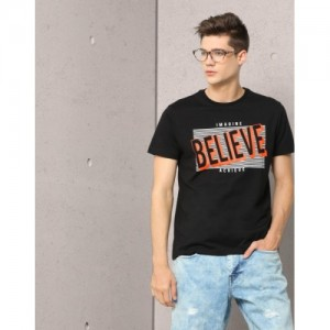 Metronaut Black Cotton Printed Round Neck T-Shirt
