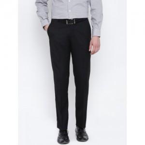 John Players Men Black Regular Fit Solid Formal Trousers
