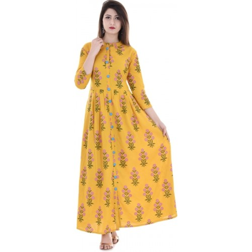 Stylum Yellow Cotton Casual Block Print Kurti