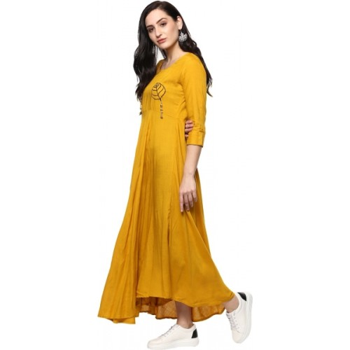 Ayan Embroidered Yellow Rayon Anarkali Kurta