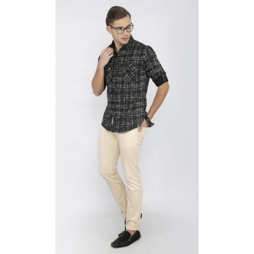 Rodid Men's Self Design Casual Spread Shirt