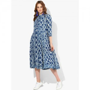 Sangria Women Blue Printed A-Line Dress