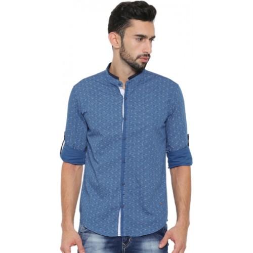Showoff Men's Solid Casual Mandarin Shirt