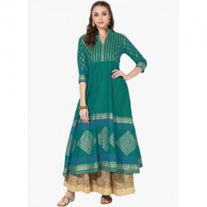Varsha Fashion Green Cotton Anarkali Kurtas