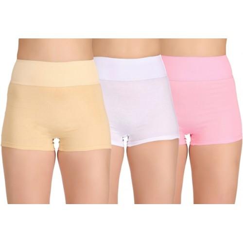 Selfcare Multicolor Cotton Solid Boy Short Panty