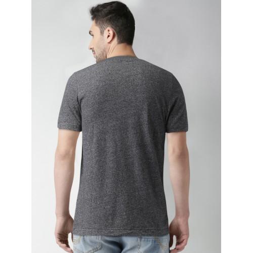 Aeropostale Solid Men's V-neck Black T-Shirt
