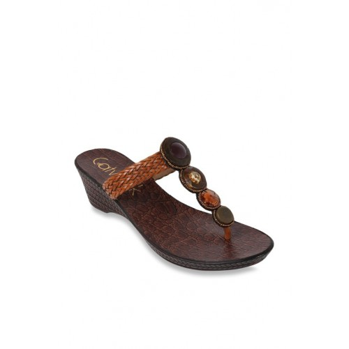 4711647b13c3a0 Buy Catwalk Dark Tan T-Strap Wedges online