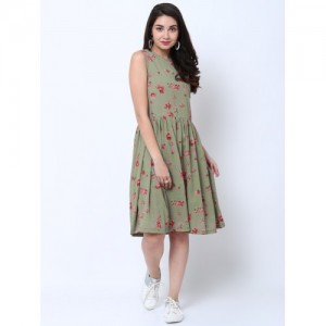 Tokyo Talkies Women Olive Green Printed Fit and Flare Dress
