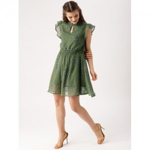 DressBerry Women Olive Green Printed A-Line Dress