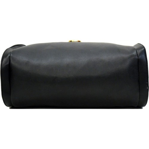 AGINOS Black Polyurethane Solid Hand-held Bag