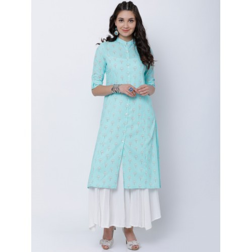 Vishudh Women Blue Printed A-Line Kurta