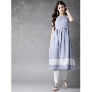Anouk Blue Solid Empire A-Line Kurta