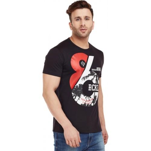 Vimal Graphic Print Men's Round Neck Black T-Shirt