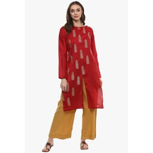 Ziyaa Red Self Design PolySilk Kurti For Women