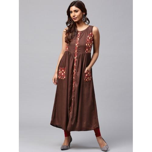 Jaipur Kurti Brown Solid A-Line Pocket Style Kurta