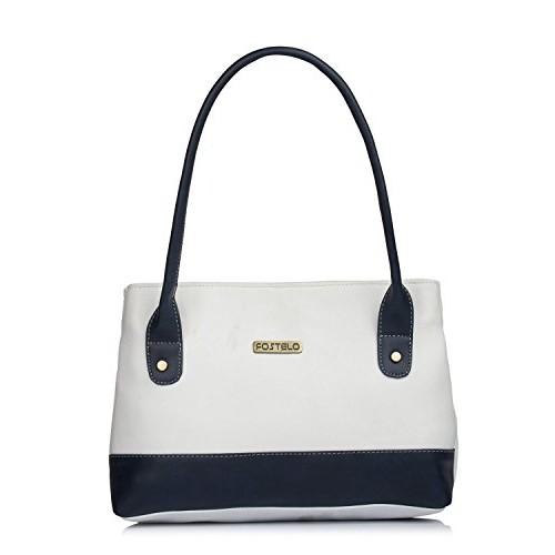 Fostelo White Polyurethane Solid Handbag
