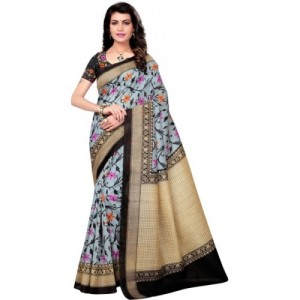 Saara Black Cotton Silk Printed Saree With Blouse