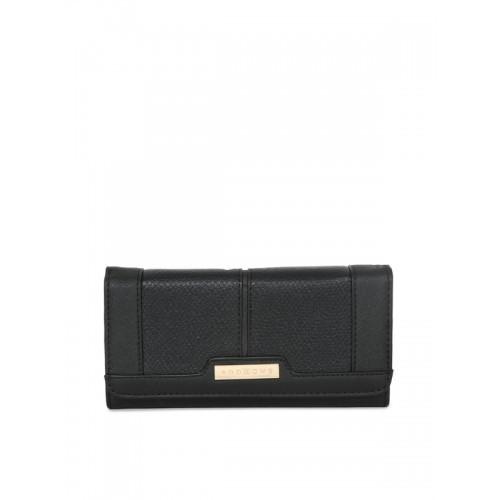Addons Women Black Solid Three Fold Wallet