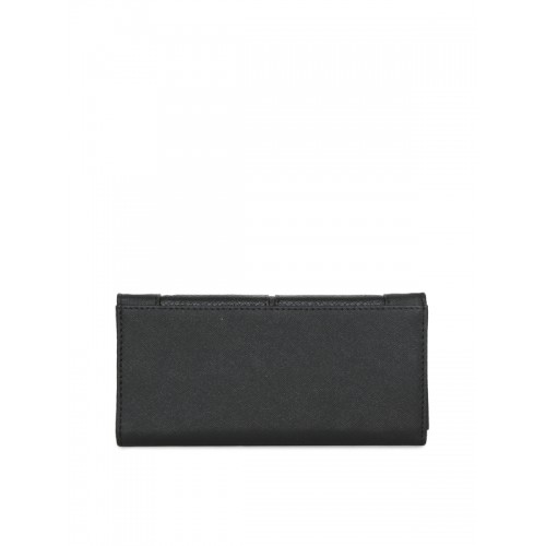 Addons Women Black Solid Three Fold Wallet