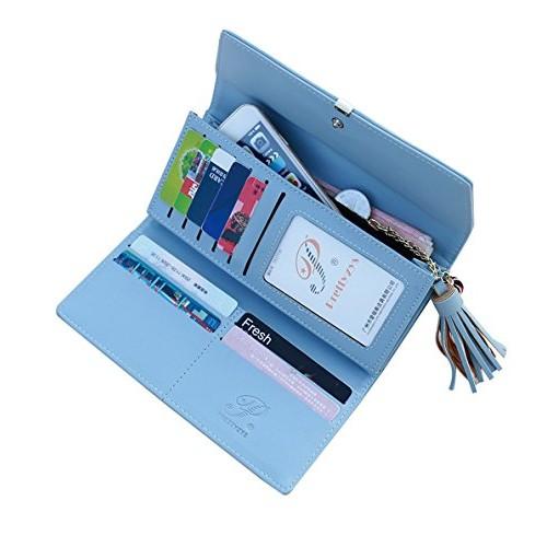 MOCA Premium Women's Wallet Clutch Long Purse Hand Purse for Women's Girls Ladies Wallet Purse Clutch Hand Purse with PUSH Lock Phone Bag Case Checkbook Holder