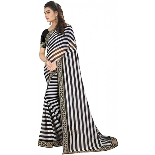 TRYme Black Fashion Cotton Silk Saree With Blouse Piece