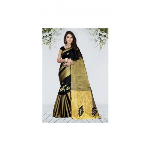 Black Cotton Silk Golden Border Saree With Blosue