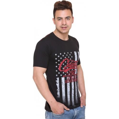 Shaun Printed Men Round Neck Black T-Shirt