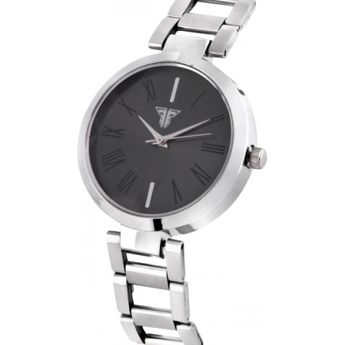 Traktime Youth Analogue Black Dial Silver Chain Watch  - For Women